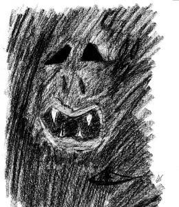 """""""El monstruo que hay en mí"""" dibujo a carboncillo"""